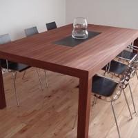 TeakTræ Stuebord Med Forsænket Skiferplade