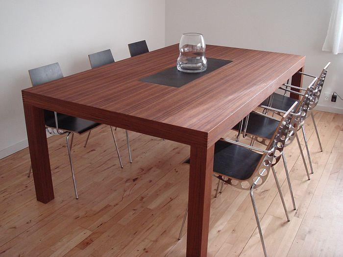 Teaktræ stuebord med skifer   dirkov.dk