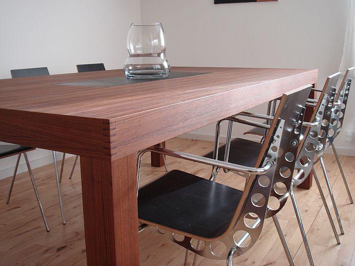 Teaktræ Stuebord Med Skifer